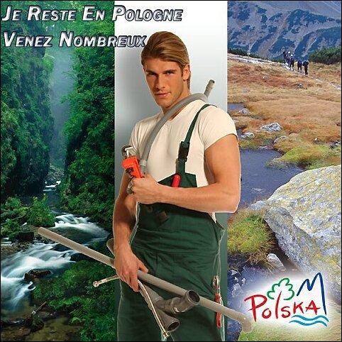 Plakat z polskim hydraulikiem